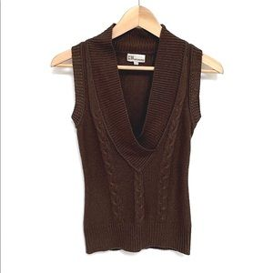 Costa Blanca Knit Sweater Vest Brown Size XS
